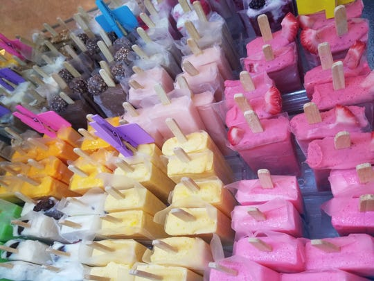 Various popsicle flavors of all colors at Las Delicias in Dickson.