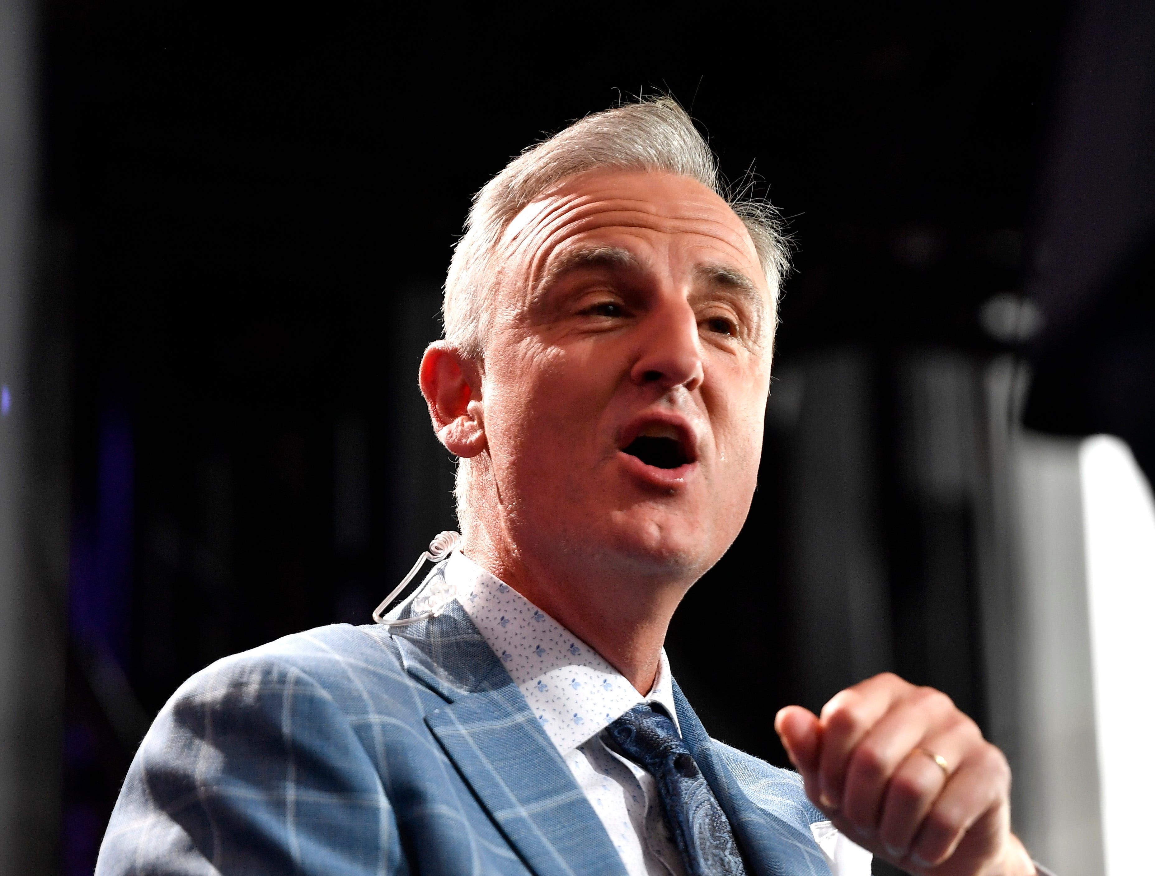 ESPN's Trey Wingo chats before the first round of the NFL Draft Thursday, April 25, 2019, in Nashville, Tenn.