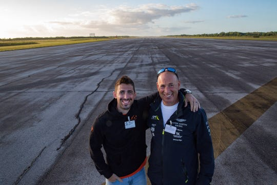 Jonathan Turner stands with his father, Charles, on a 2.3-mile stretch of the former space shuttle landing strip at the Kennedy Space Center in March 2019. They are originally from Hershey, Pennsylvania, and now both residents of Naples. Jonathan works with his father as a financial adviser. Jonathan brought his McLaren 570S and Charles brought his 2019 Aston Martin Vantage.