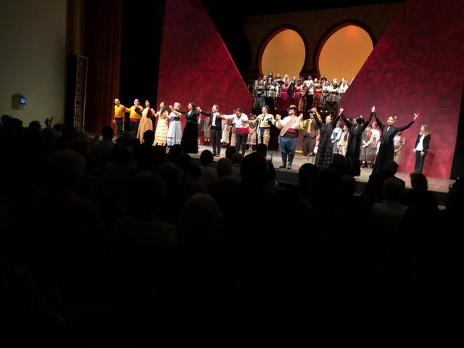 "The cast of ""Carmen"" at opening night bows"