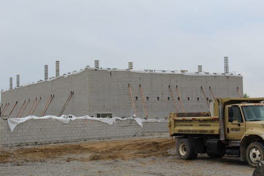 The new high school's auditorium has begun taking shape.