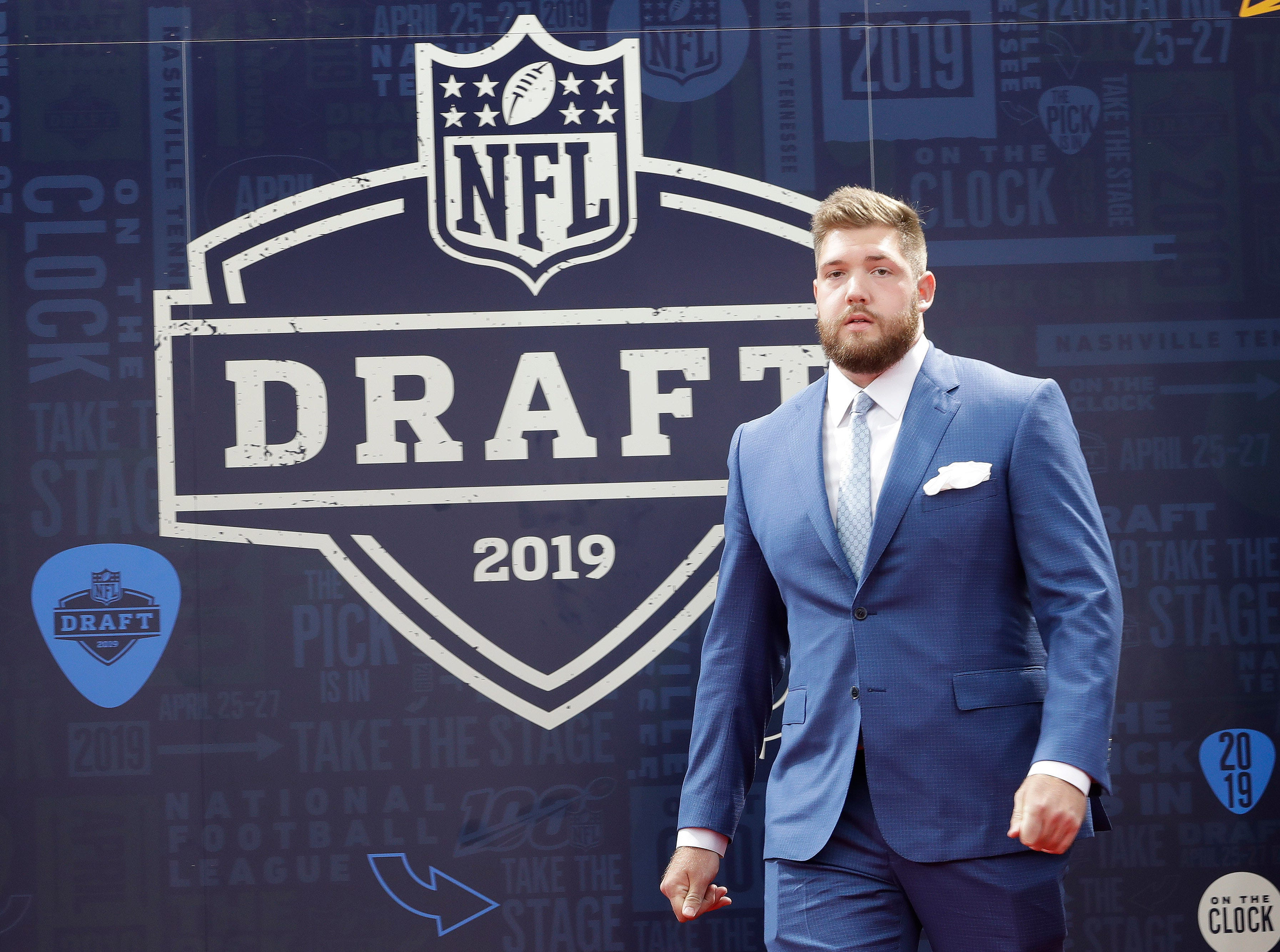 Alabama tackle Jonah Williams walks the red carpet ahead of the first round at the NFL football draft, Thursday, April 25, 2019, in Nashville, Tenn. (AP Photo/Steve Helber)