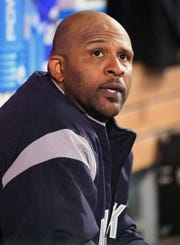 Apr 24, 2019; Anaheim, CA, USA;  New York Yankees starting pitcher CC Sabathia (52) sits in the dugout during the fourth inning of the game against the Los Angeles Angels at Angel Stadium of Anaheim.