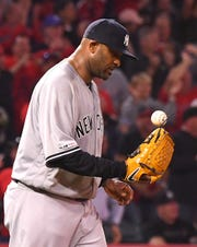 Apr 24, 2019; Anaheim, CA, USA; New York Yankees starting pitcher CC Sabathia (52) stands on the mound after giving up a three run home run to Los Angeles Angels right fielder Kole Calhoun (not pictured) in the fourth inning of the game at Angel Stadium of Anaheim.
