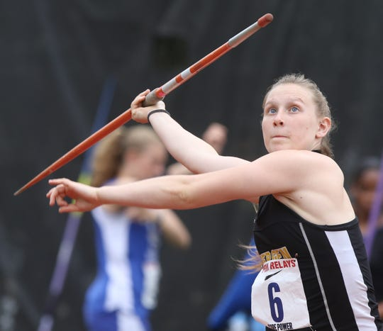Alianna Eucker of Bergen Tech placed fifth in the javelin competition.