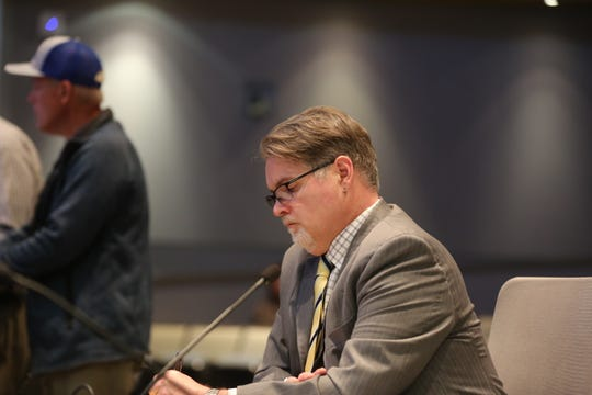 Assistant city manager David Dollahon presented the budget transfer to cover costs of emergency humanitarian assistance for asylum applicants at a special meeting of the Las Cruces City Council on Thursday, April 25, 2019.