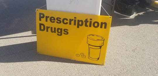 A sign points the way for people to drop off prescription medications during the April 20 Household Hazardous Waste Clean Up Day at the Carlsbad Beach.