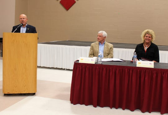New Mexico State Senator William Burt speaks while New Mexico State Senator Ron Griggs and New Mexico State Representative Rachel Black during the Legislative Wrap-Up Town Hall April 16.