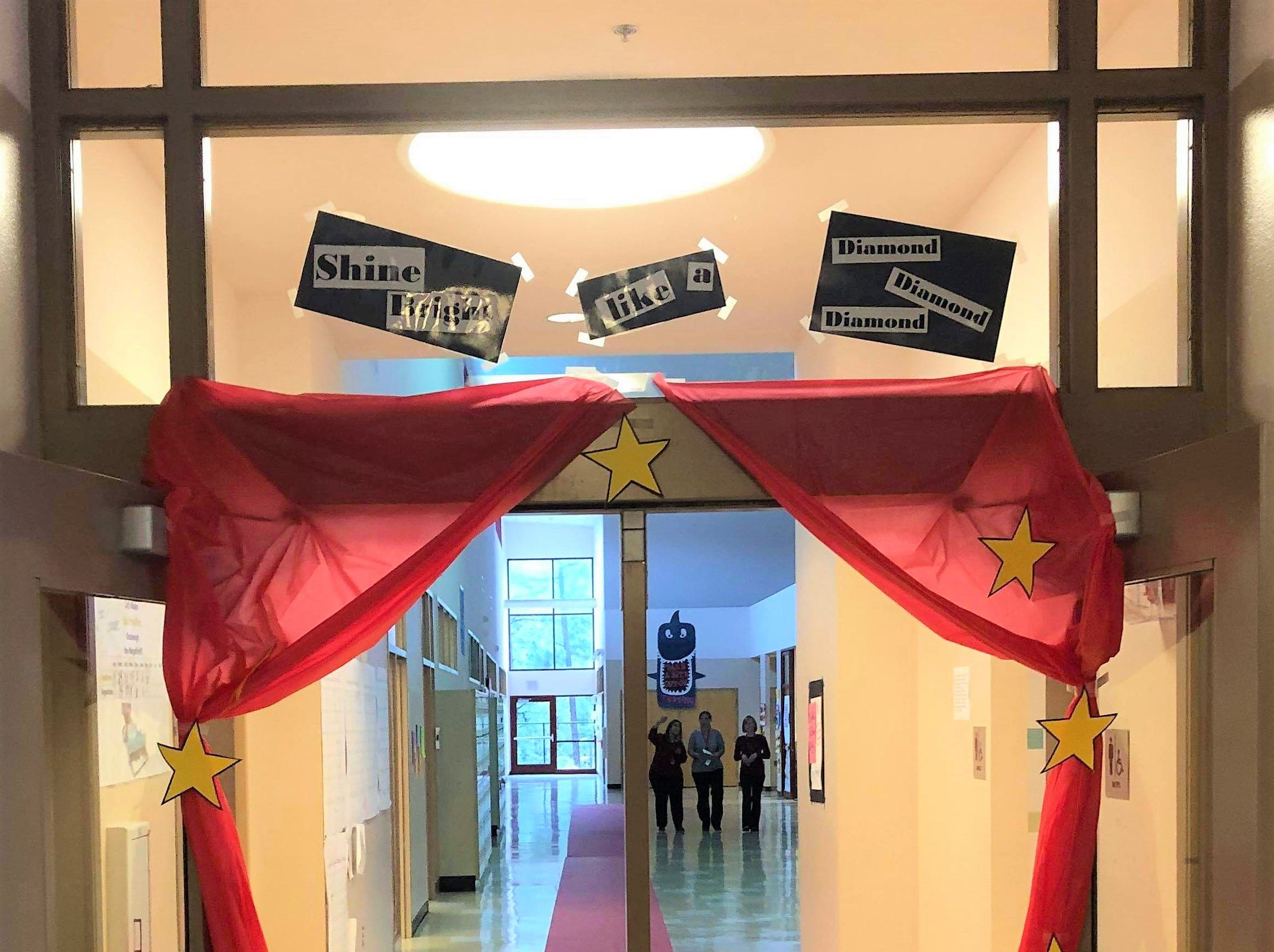 """The """"red carpet"""" that led the students to  testing. The rally was held to encourage the students to always do their best and  relieve some of the anxiety they may have felt before testing began."""