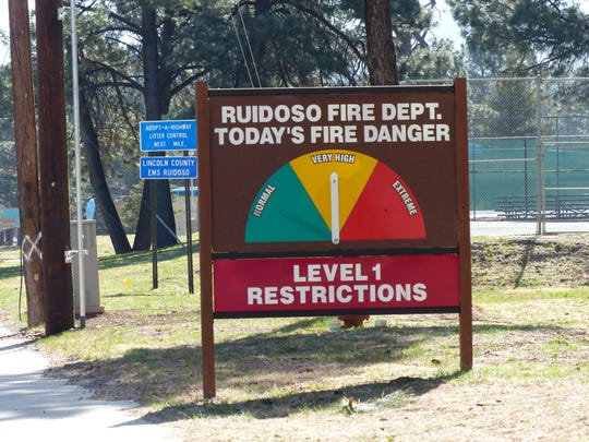 Fire restrictions in Ruidoso are at Level 1, but fireworks never are permitted. A colorful sign at School House Park indicates changes in the level of fire danger. The village also can sound sirens and place automatic calls to warn residents.