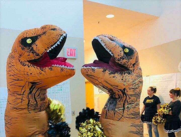 The 'T' in T-rex stands for go team Ruidos Middle School. The Dinos cheered on the students as they began testing on Tuesday, April 23.