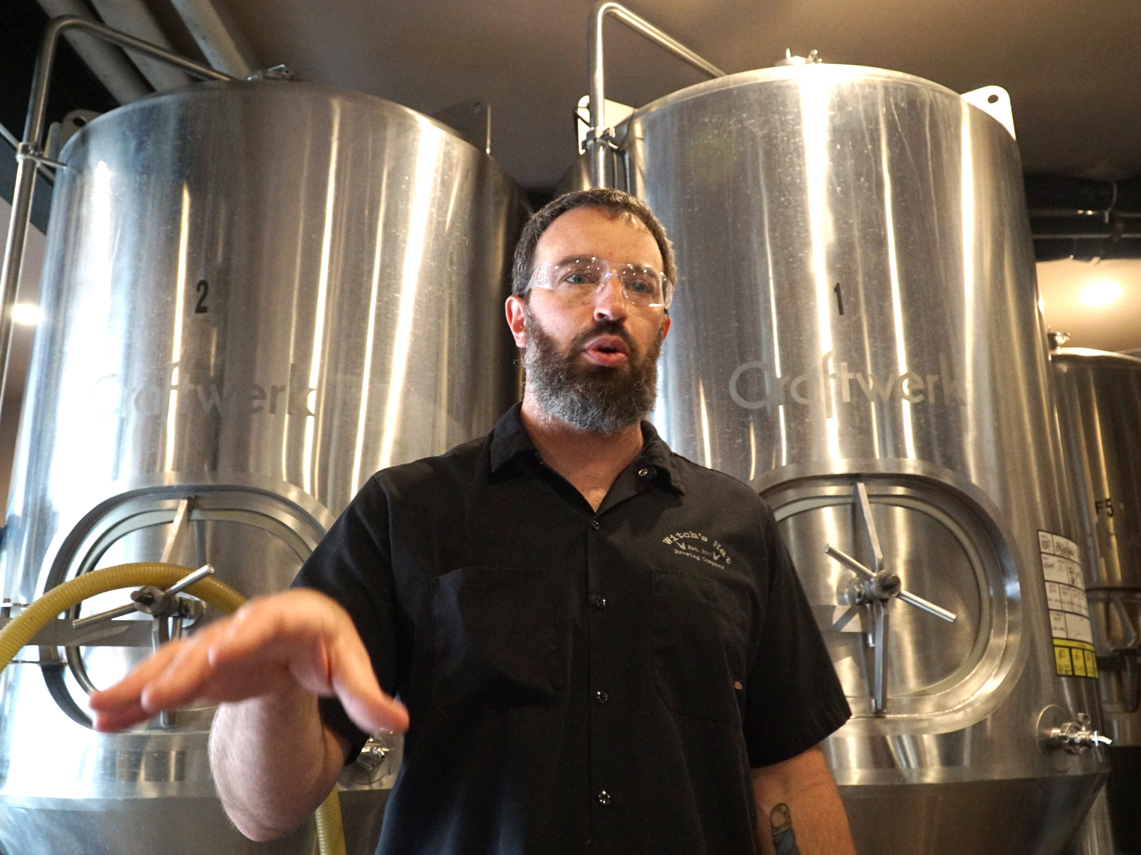 Ryan Cottongim, owner of South Lyon's Witch's Hat Brewing Company, talks about the process of making some of their beers and ales in their Lafayette Street brewery. Witch's Hat's Blueberry Lemonade gose brew won a gold medal at a recent World Expo of Beer competition.