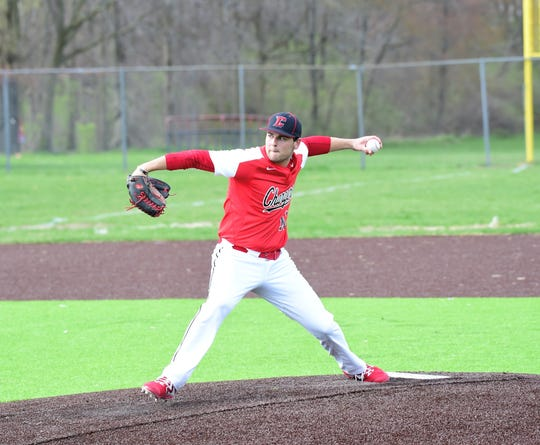 Churchill's Drew Alsobrooks delivers a pitch against Franklin on April 24, 2019.