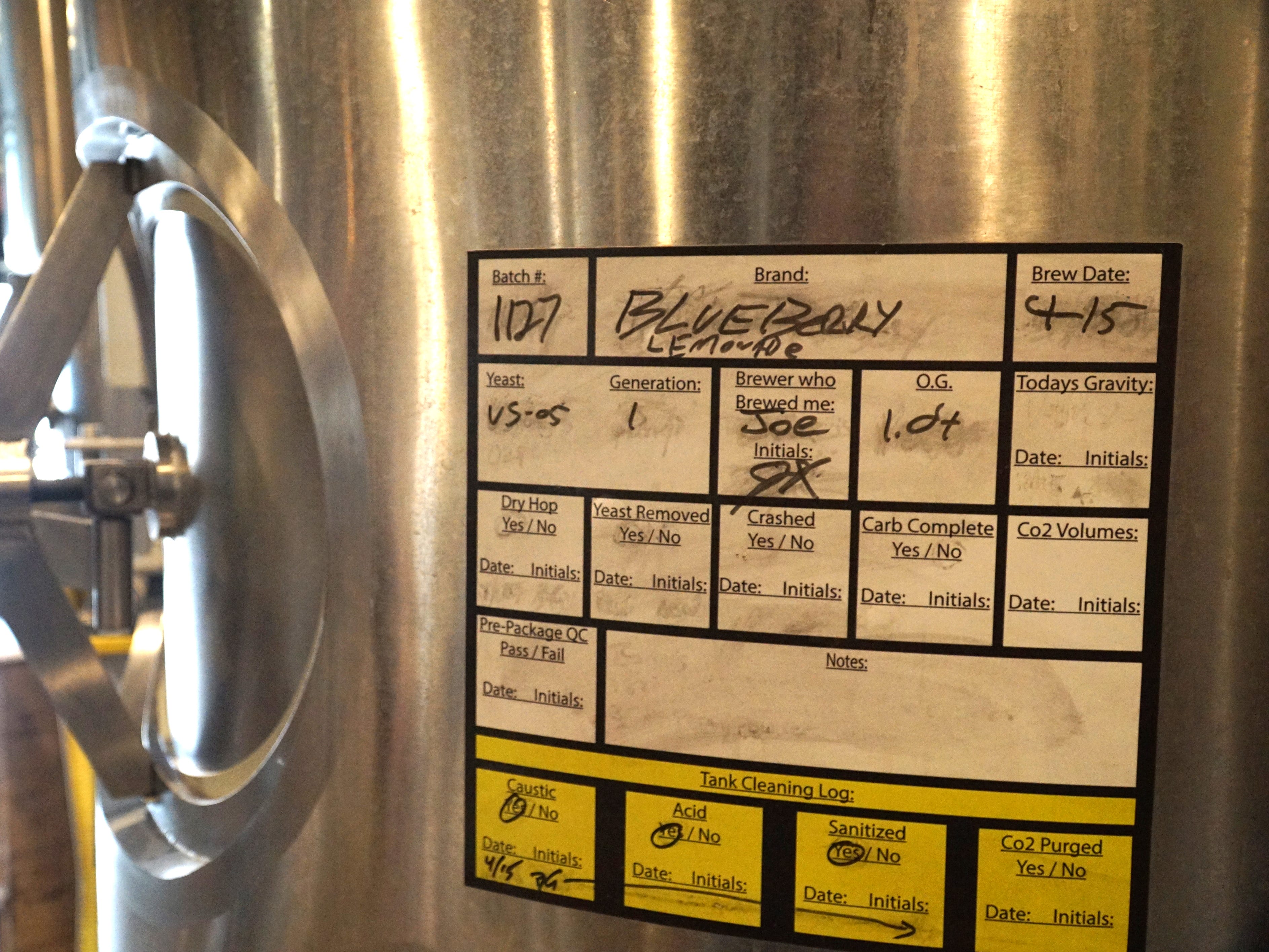 A tank of Witch's Hat award-winning Blueberry-Lemonade, begun on April 15, sits inside the South Lyon brewery.
