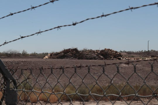 A pile of wood from pallets and other sources lies outside of Desert View Power, Mecca, Calif., April 23, 2019. The power plant is the single largest emitter of ozone smog forming pollutants in the Coachella Valley.
