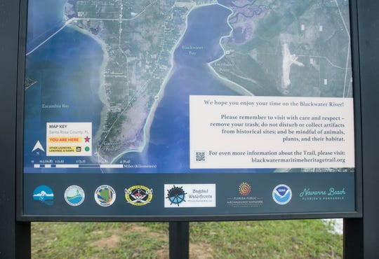 Visitors can scan the code with their smart phones to get more information about the Blackwater Heritage Trail project at the Carpenter's Park Boat Ramp in Milton.
