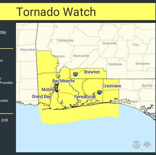 Tornado watch issued for Escambia and Santa Rosa counties until 8 p.m.