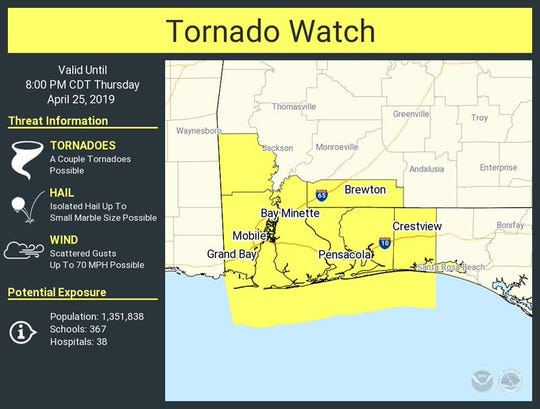 A tornado watch has been issued for Escambia and Santa Rosa counties until 8 p.m.