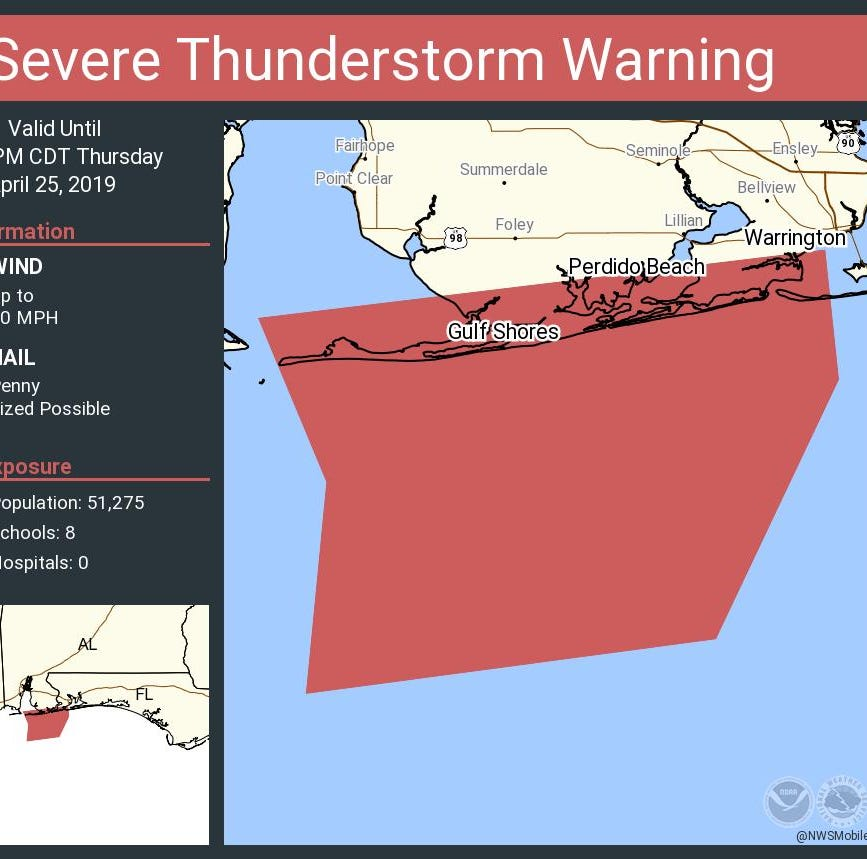 Severe thunderstorm warning issued for southern Escambia County