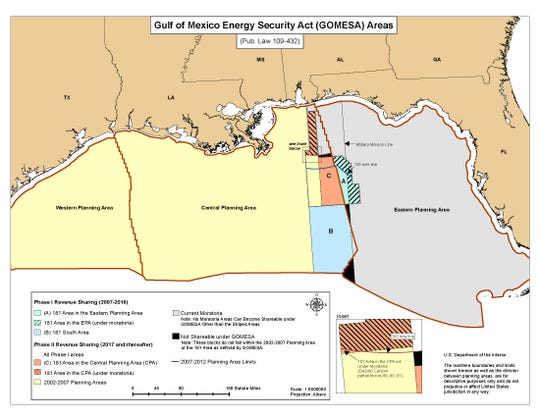 A Bureau of Ocean Energy Management map shows the military mission line off Florida.