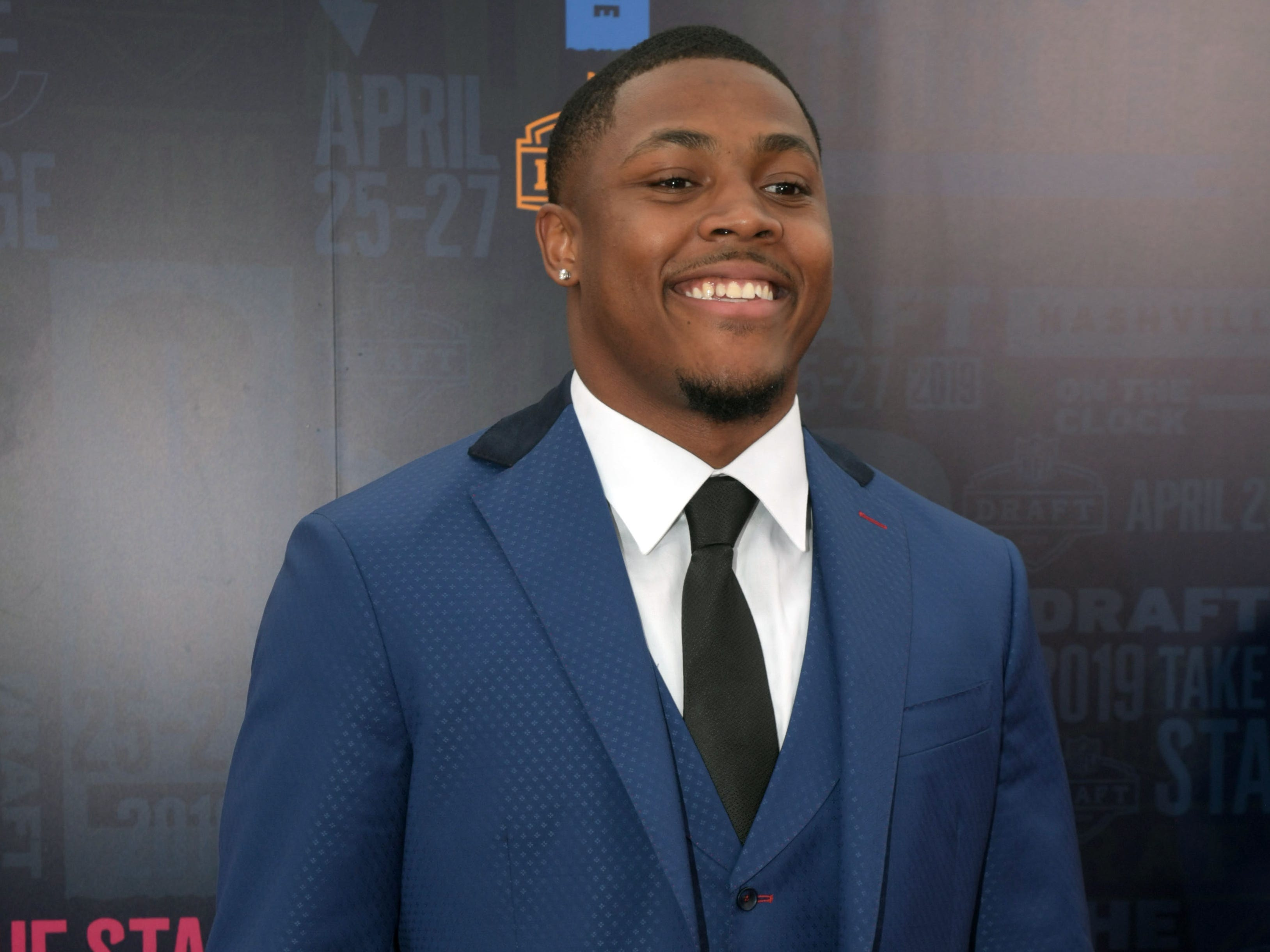 Apr 25, 2019; Nashville, TN, USA; Josh Jacobs (Alabama) on the red carpet prior to the first round of the 2019 NFL Draft in Downtown Nashville.