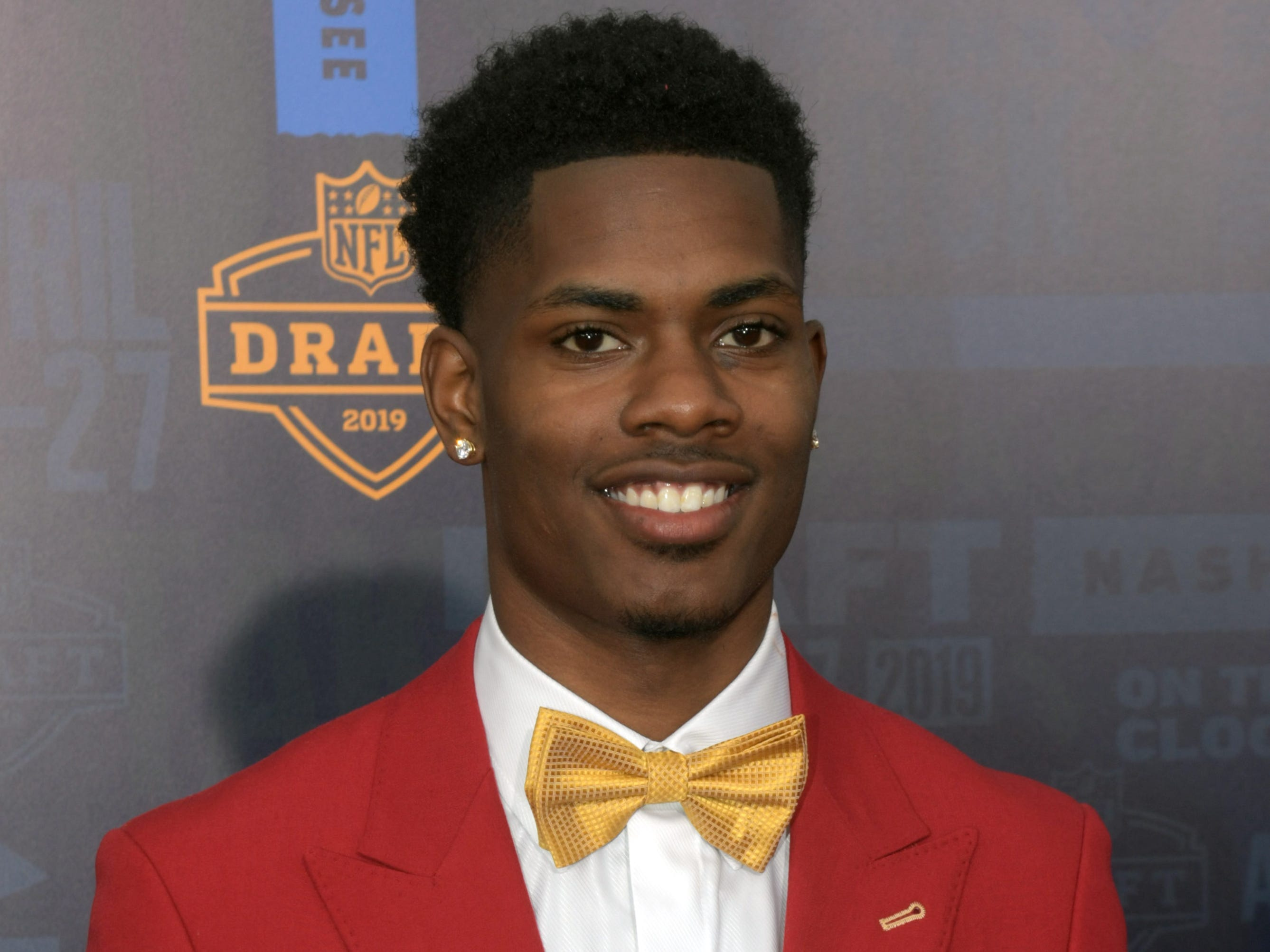 Apr 25, 2019; Nashville, TN, USA; Greedy Williams (Louisiana State) on the red carpet prior to the first round of the 2019 NFL Draft in Downtown Nashville.