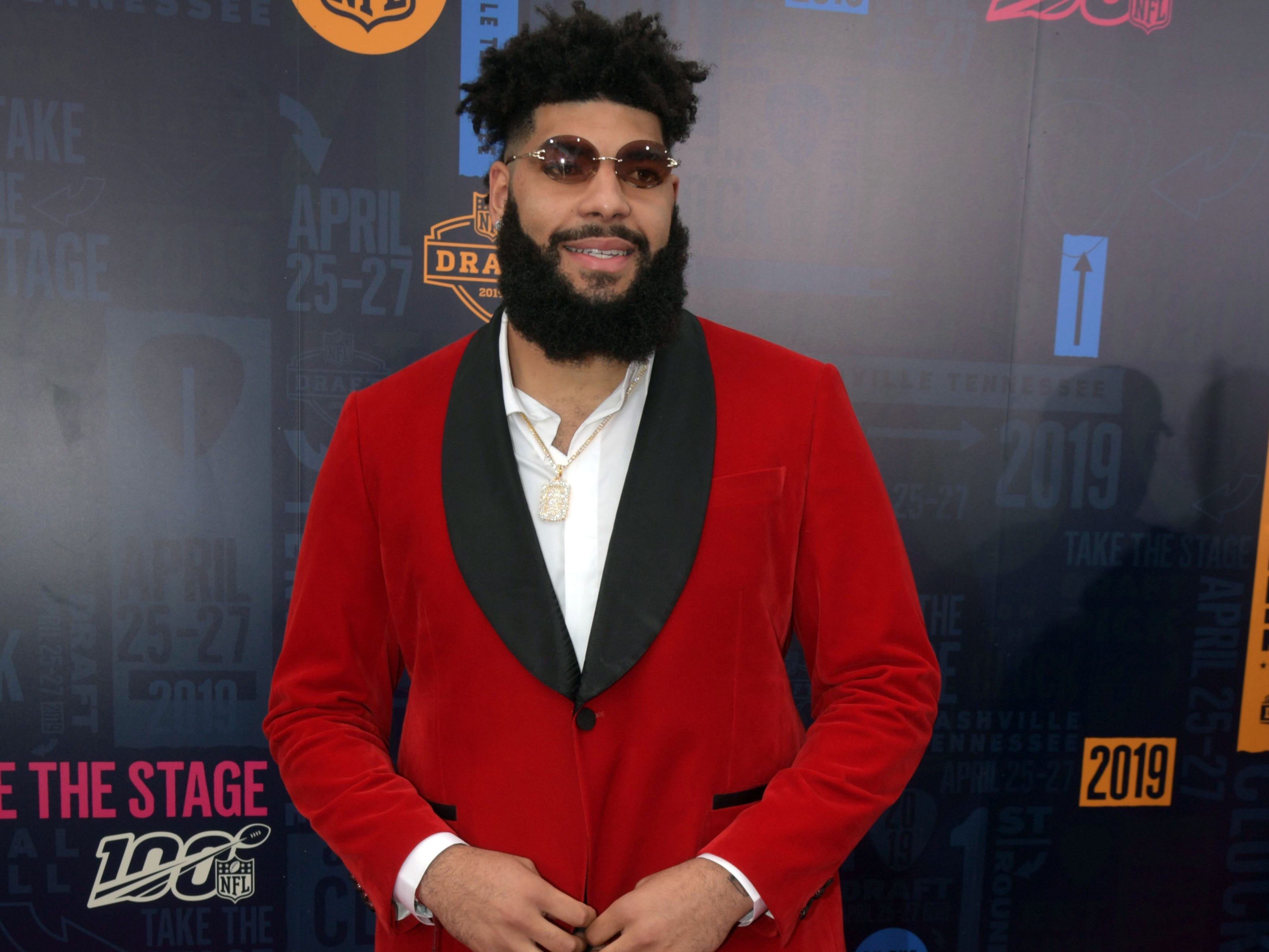 Apr 25, 2019; Nashville, TN, USA; Cody Ford (Oklahoma) on the red carpet prior to the first round of the 2019 NFL Draft in Downtown Nashville.