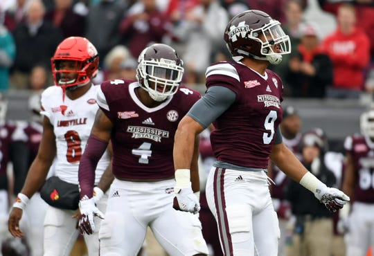 Mississippi State linebacker Montez Sweat celebrates after a play during a game against Louisville during the TaxSlayer Bowl at EverBank Field.