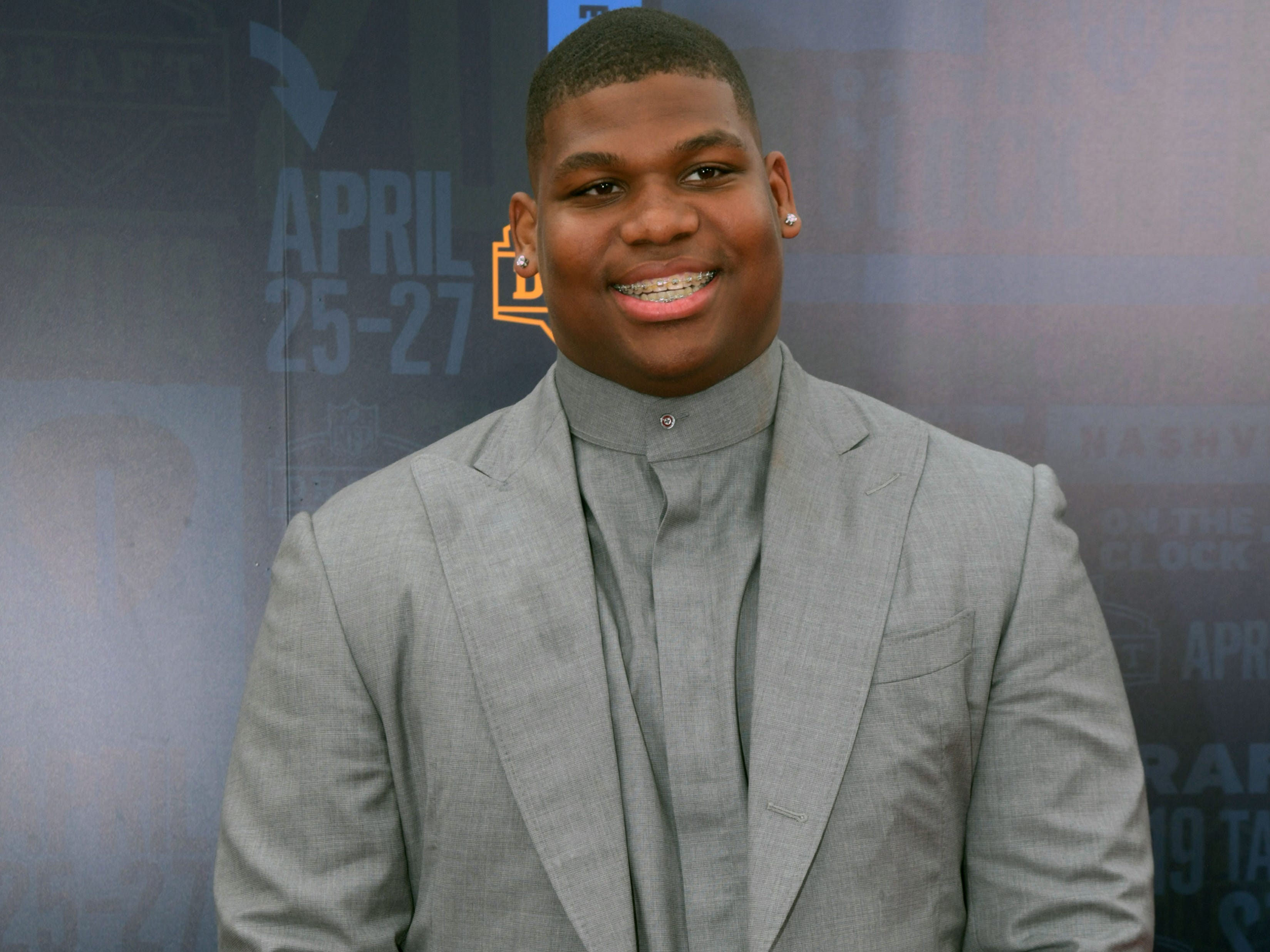 Apr 25, 2019; Nashville, TN, USA; Quinnen Williams (Alabama) on the red carpet prior to the first round of the 2019 NFL Draft in Downtown Nashville.