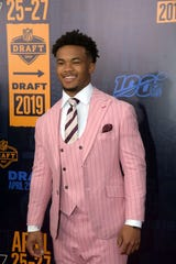 Apr 25, 2019; Nashville, TN, USA; Kyler Murray (Oklahoma) on the red carpet prior to the first round of the 2019 NFL Draft in Downtown Nashville.