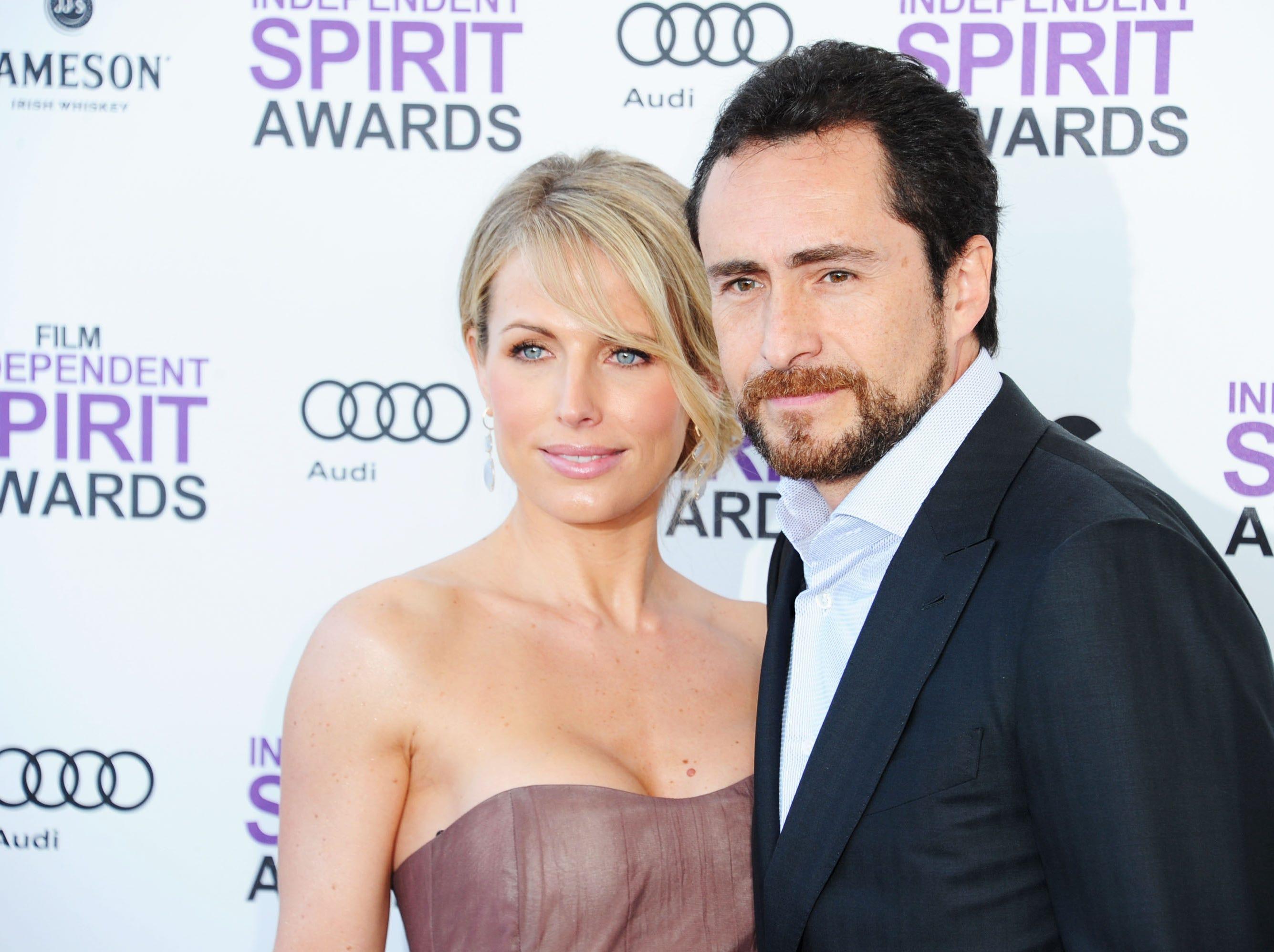 Demian Bichir and Stefanie Sherk arrive at the Film Independent Spirit Awards on Feb. 25, 2012, in Santa Monica, California.