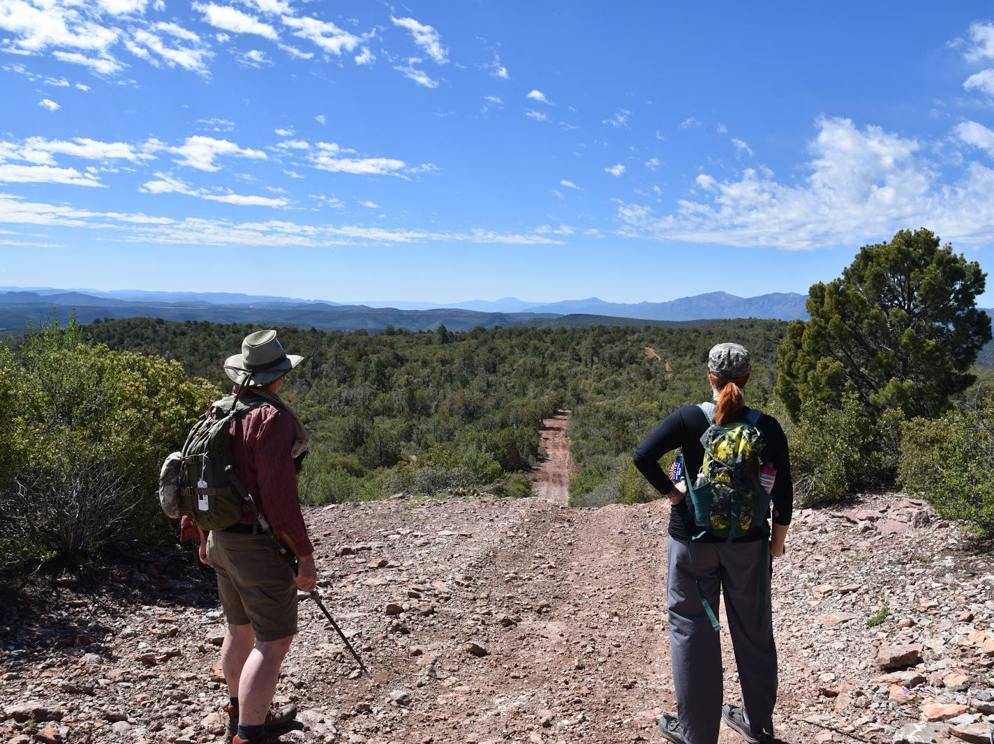Hikers contemplate the undulating route.