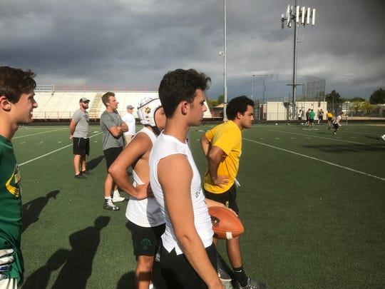 Horizon quarterback Jake Martinelli practices with the team.
