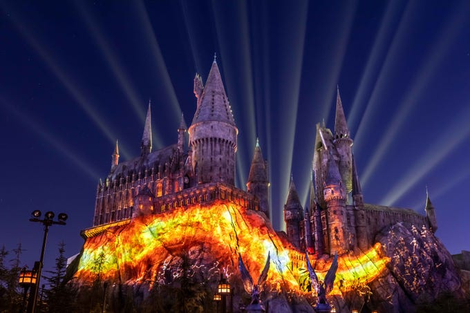 The Dark Arts at Hogwarts Castle Light Projection Show at Universal Studios Hollywood.
