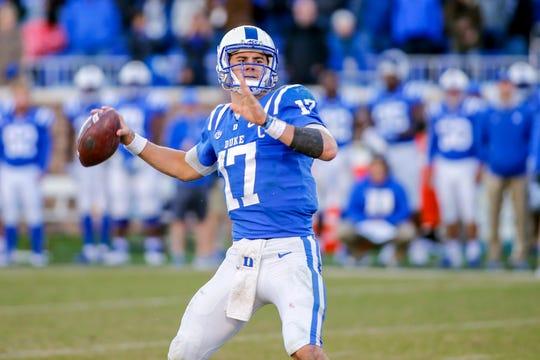 Duke quarterback Daniel Jones looks to throw during a game against North Carolina at Wallace Wade Stadium.