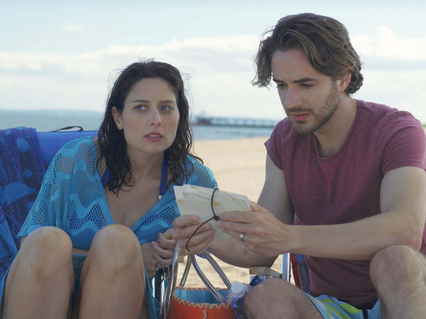 """Olivia (Jill Durso) and Josh (AJ Cedeño) can't believe what they're learning in """"The Last."""""""