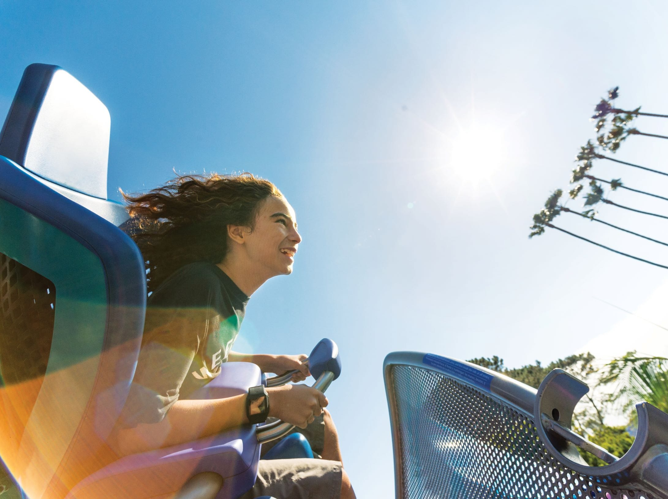On board the Manta, a double-launch roller coaster at SeaWorld San Diego.