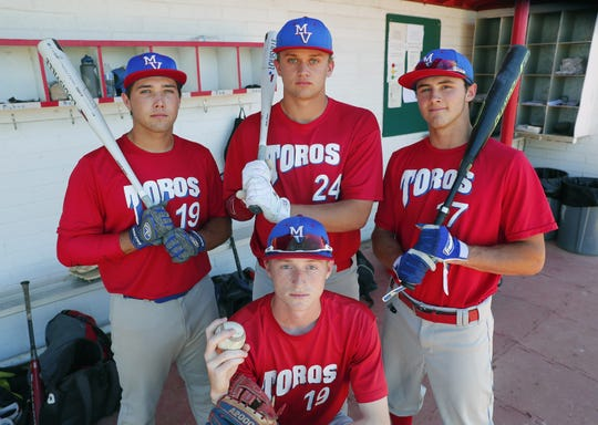 Mountain View High seniors (from back left) Cameron Jowaiszas, Sean Rimmer, McKay Barney and Dallas Wise (front) lead the Mesa team into the 6A baseball tournament.