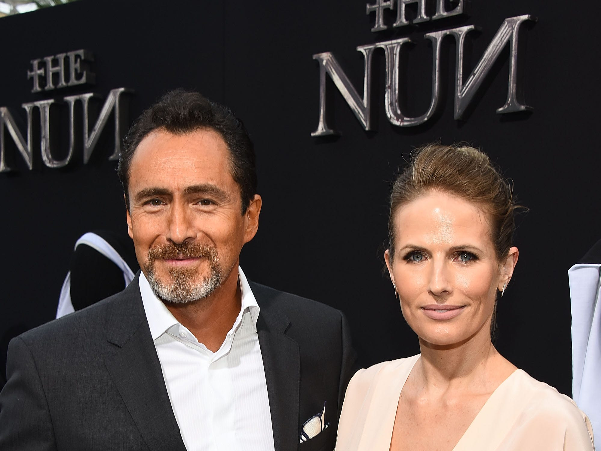 """Demian Bichir and his wife, Stefanie Sherk, attend the premiere of  his film """"The Nun"""" on Sept. 4, 2018, in Hollywood."""