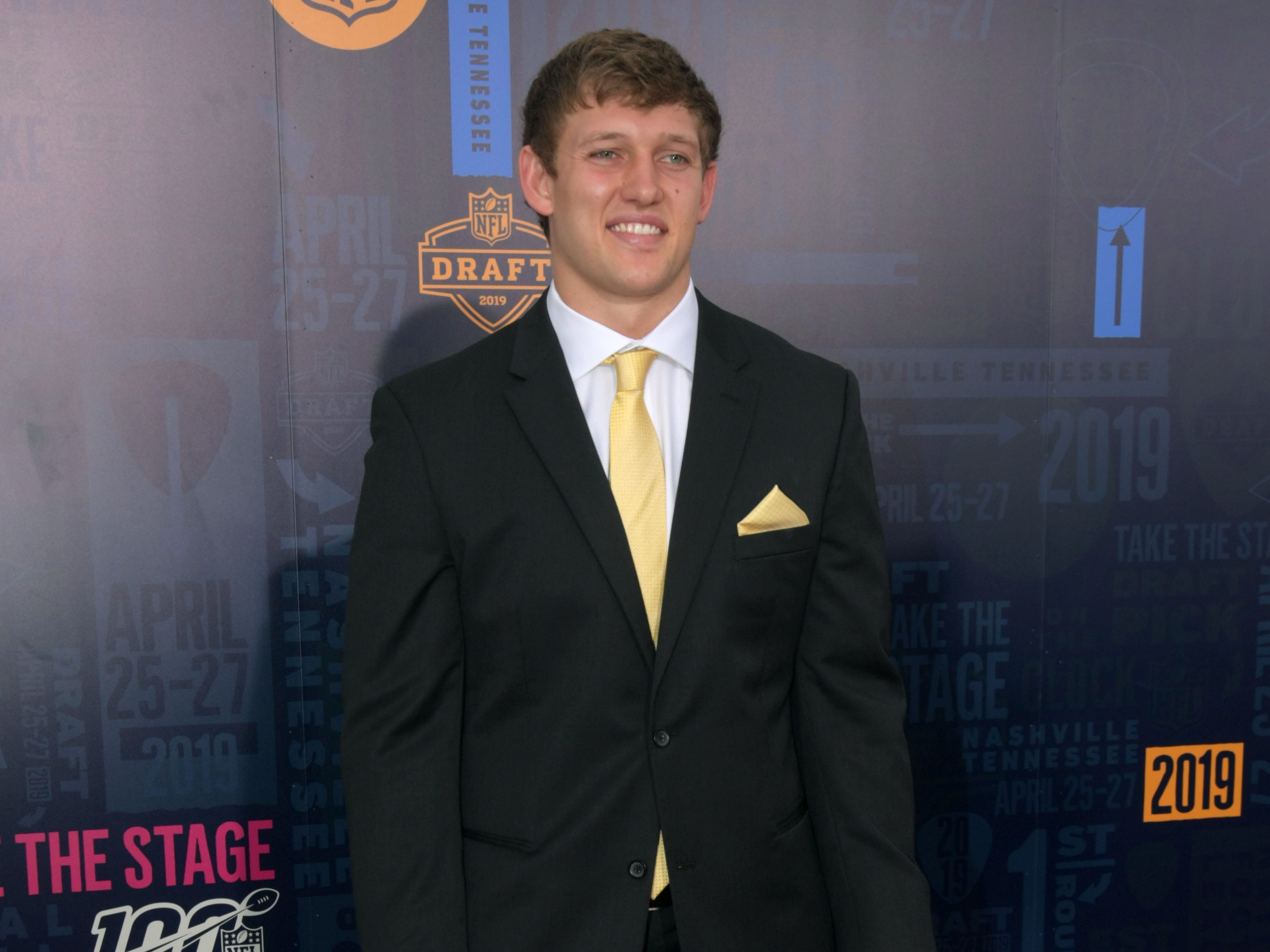 Apr 25, 2019; Nashville, TN, USA; T.J. Hockenson (Iowa) on the red carpet prior to the first round of the 2019 NFL Draft in Downtown Nashville.