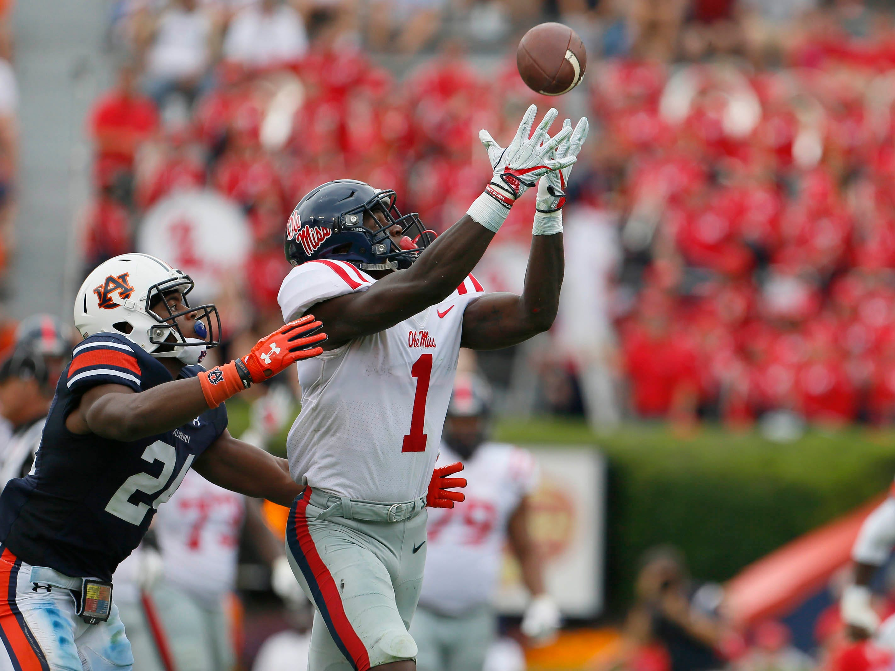 Mississippi receiver A.J. Brown  makes a catch during a game against Auburn at Jordan-Hare Stadium.