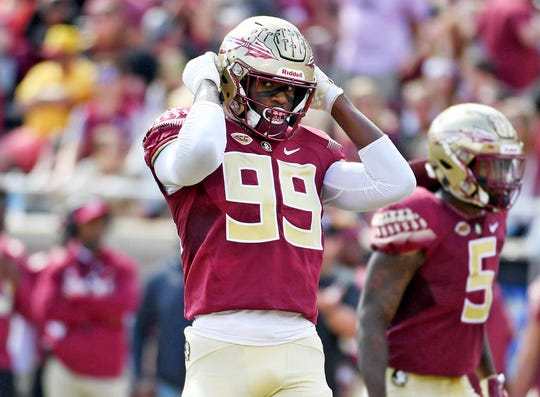 Florida State defensive end Brian Burns   gets set before a play against Clemson during a game at Doak Campbell Stadium.