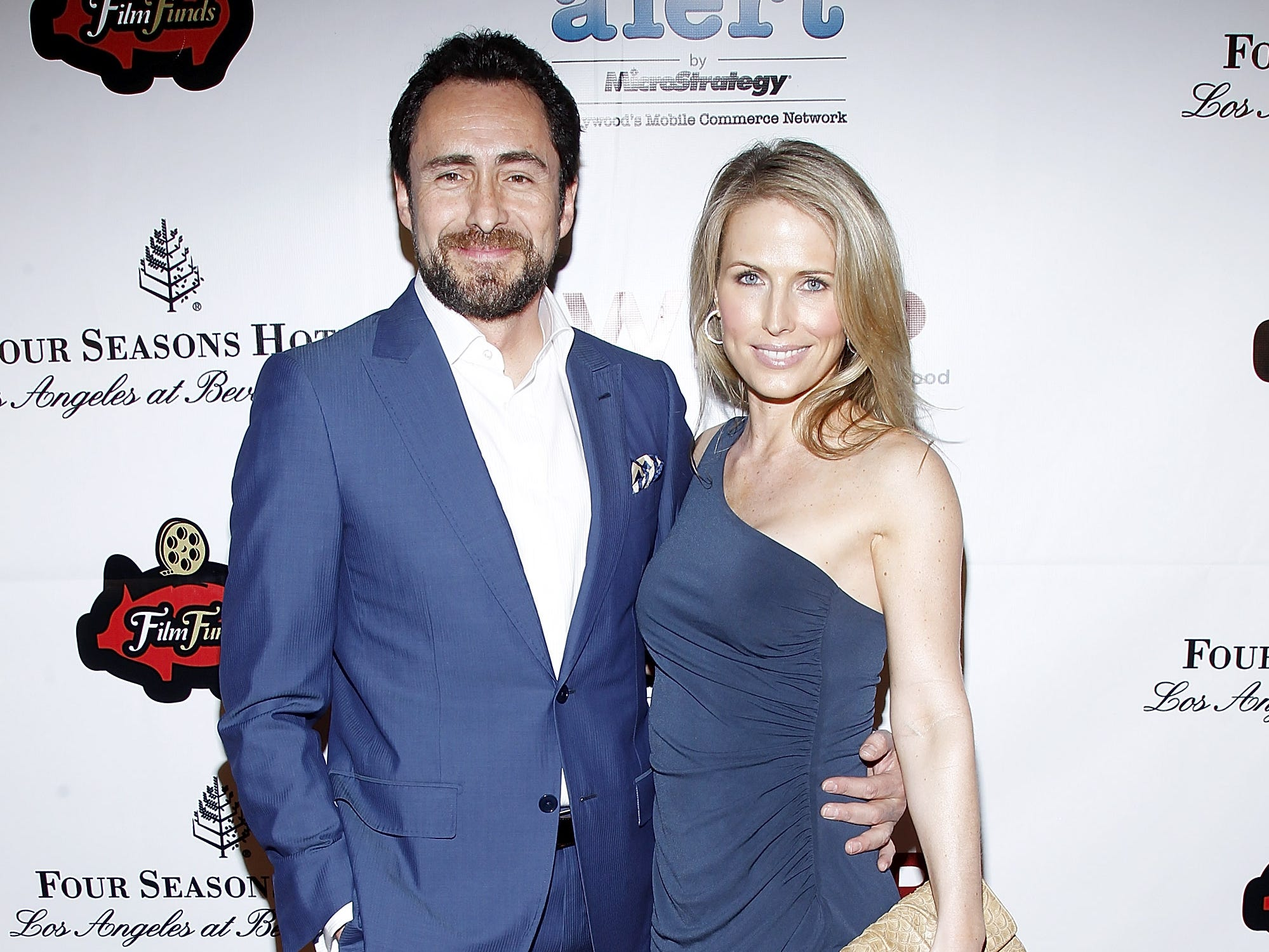 Demian Bichir and Stefanie Sherk attend the TheWrap's 3rd Annual Pre-Oscar Party at Culina Restaurant at the Four Seasons Los Angeles on February 22, 2012, in Beverly Hills, California.