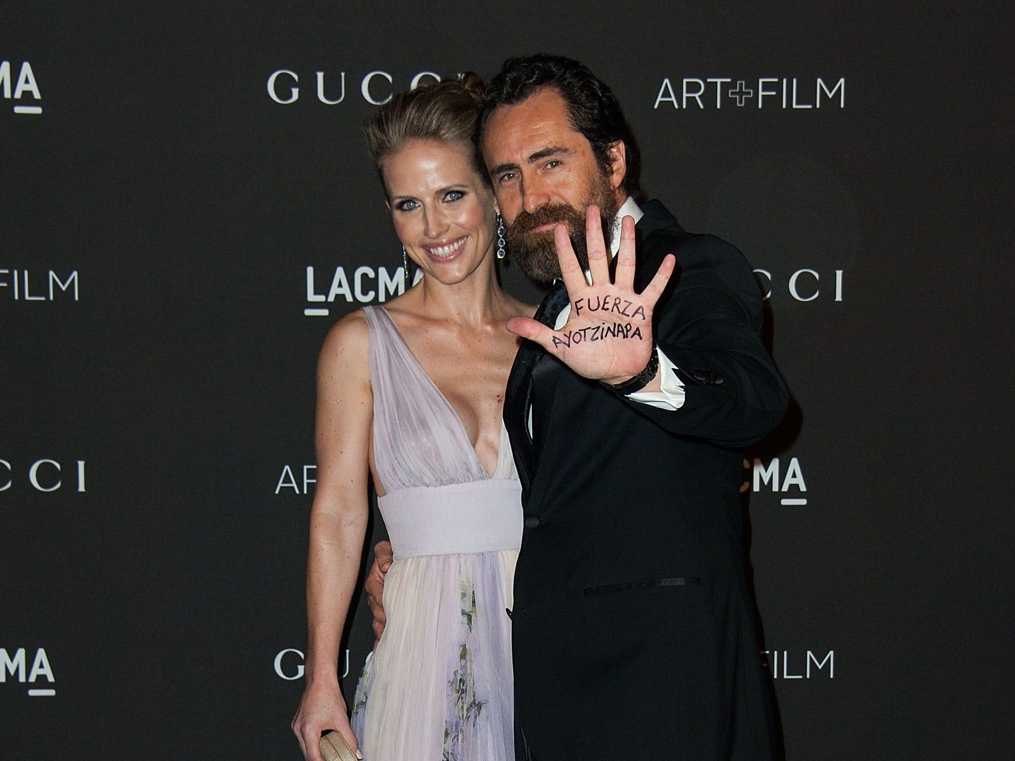 Demian Bichir and Stefanie Sherk attend the 2014 LACMA Art + Film Gala  on Nov. 1, 2014, in Los Angeles, California.