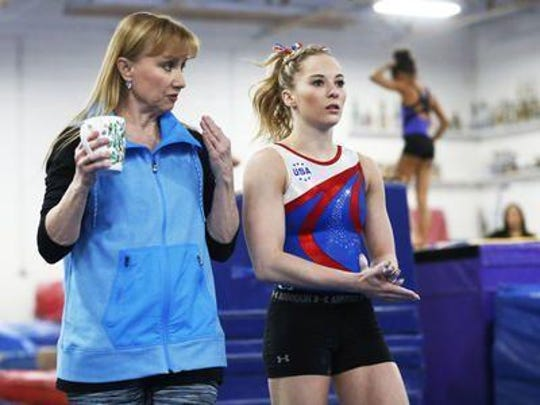 MyKayla Skinner is re-teaming with Desert Lights Gymnastics coach Lisa Spini, left, to train toward the 2020 Tokyo Olympics. Skinner was fourth at the 2016 U.S. Olympic Trials.