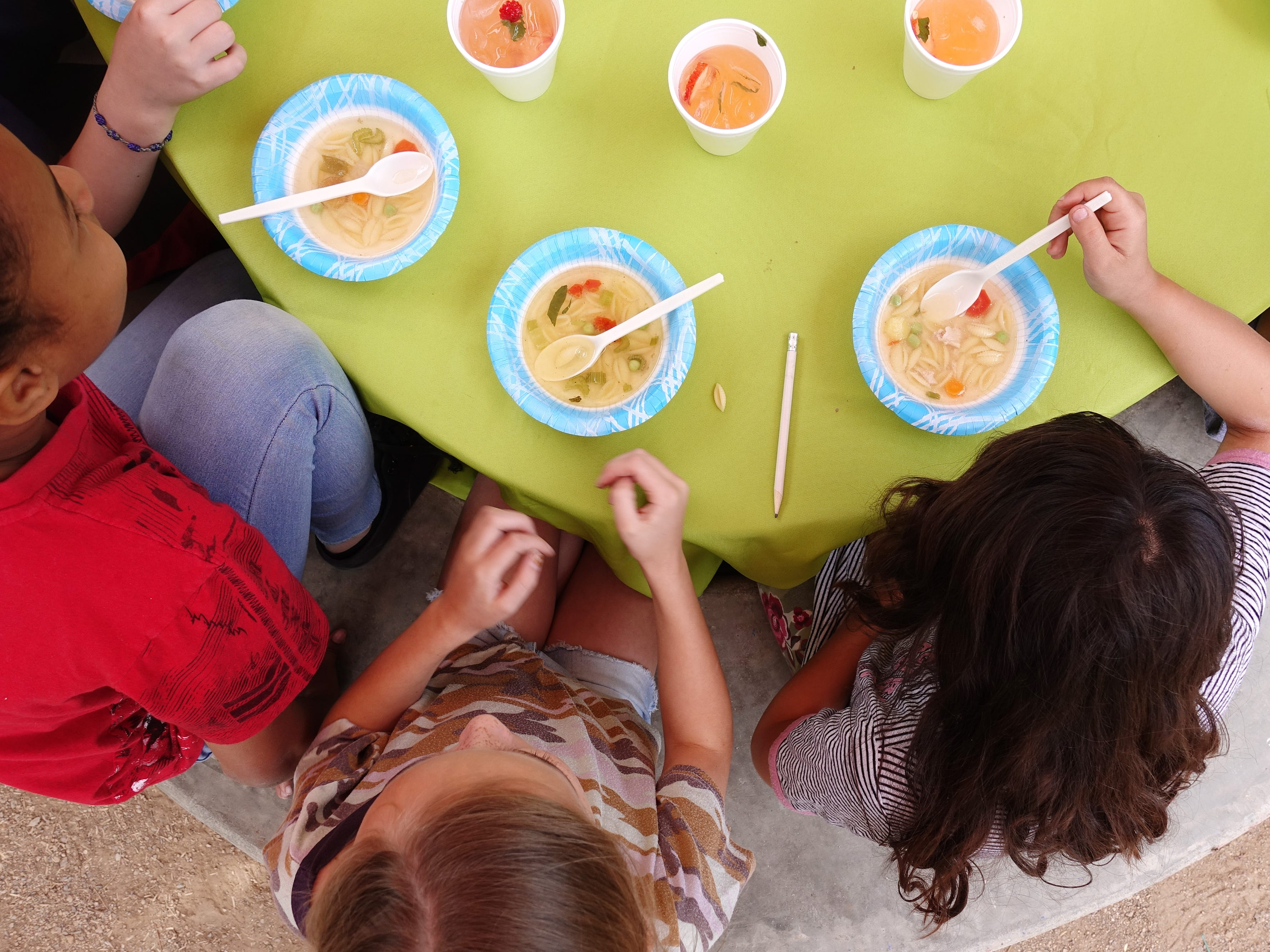 "Fourth-grade students taste chicken soup during a ""Chef in the Garden"" lesson at Echo Canyon School in Scottsdale."