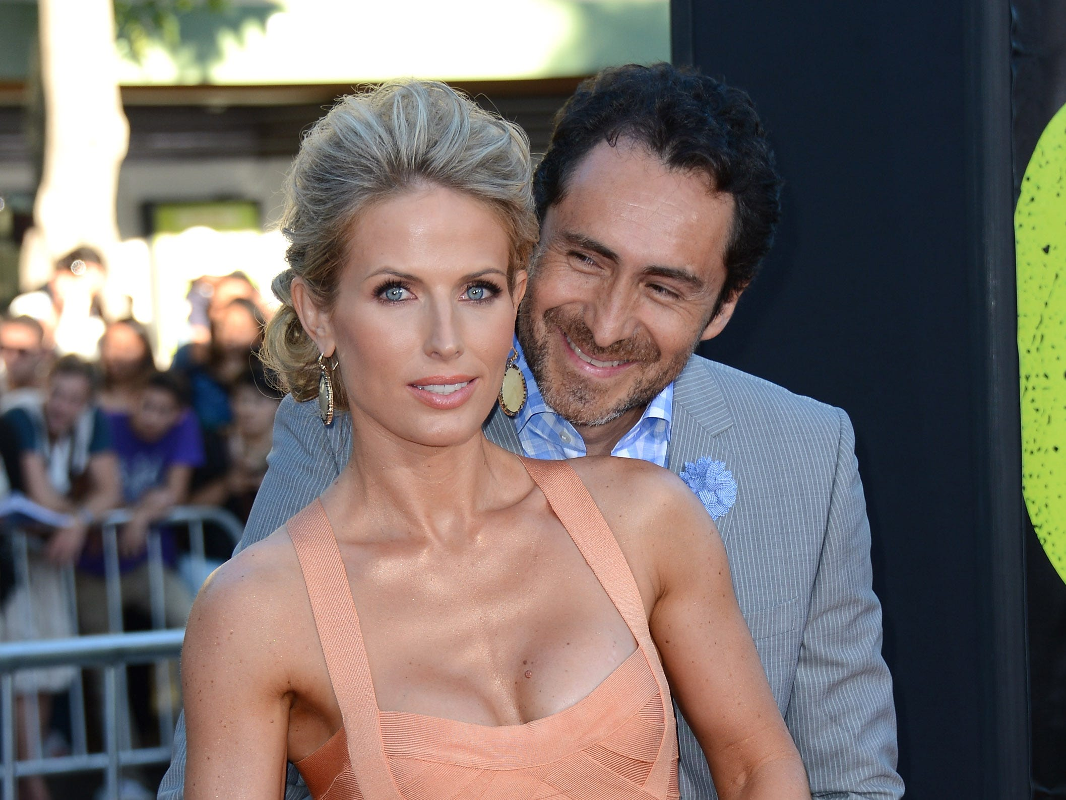 """Stefanie Sherk and Demian Bichir arrive at the premiere of his film """"Savages"""" on June 25, 2012, in Los Angeles, California."""