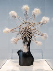 "A ""crown"" constructed of artificial hair (created by Vela Davis) is featured in the video installation ""Souls,"" by Mesa-born artist Malakai. It is in display through July 7, 2019, at the Phoenix Art Museum."