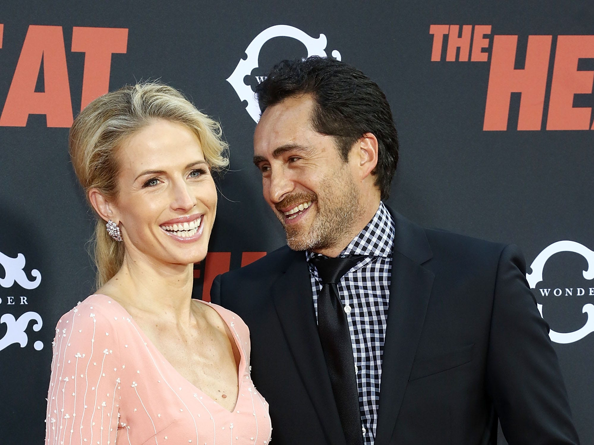 """Demian Bichir and Stefanie Shirk attend the premiere of his film """"The Heat"""" on June 23, 2013, in New York City."""