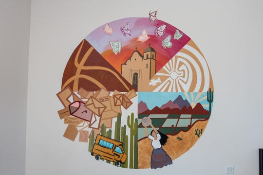 A new cabin with a mural is revealed at a ceremony held by the Girl Scouts Arizona Cactus-Pine Council to honor the first female governor of Gila River Indian Community, Mary Thomas, with the reveal of a special cabin and mural, in Phoenix on April 25, 2019.
